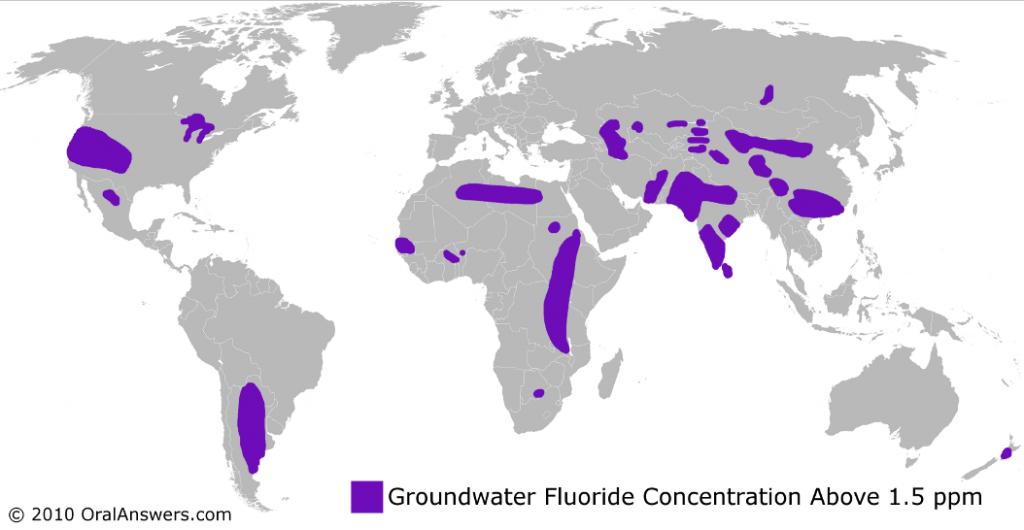 Worldwide Fluoride Distribution Chart