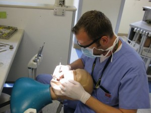 Dental Student Working on a Mannequin