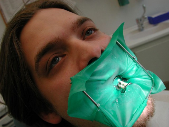 Green Rubber Dental Dam - Photo Courtesy of Produnis