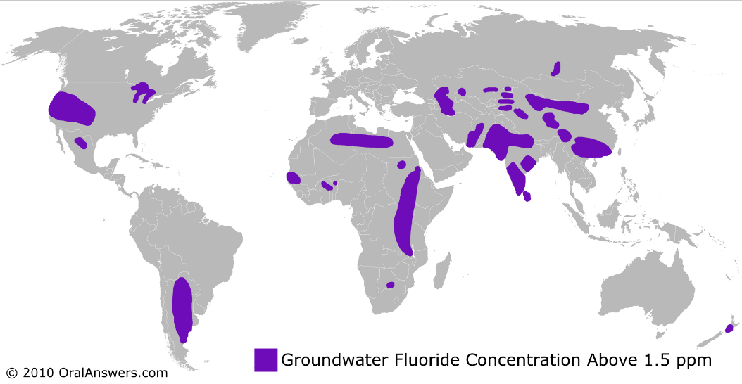 A World Map Showing Naturally Fluoridated Water Oral Answers