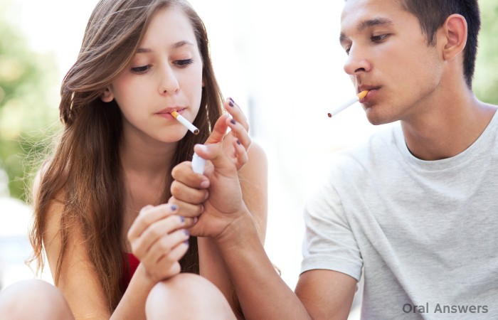 Teenagers Smoking Cigarettes