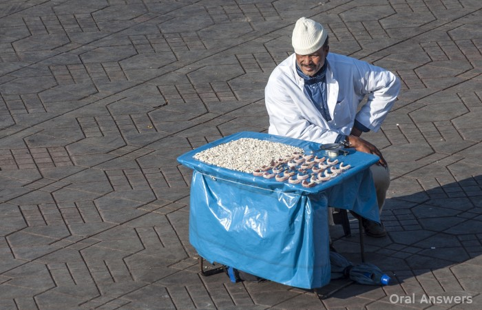 Extracted Teeth Visible On Moroccan Street Dentist's Table